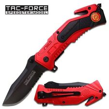 "8"" FIRE FIGHTER RESCUE SPRING ASSISTED FOLDING KNIFE Blade Pocket Open Switch"