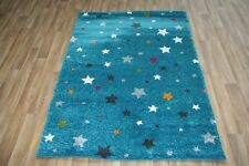 Quality Modern Blue Multi Stars Rug 120cm x 170cm 12mm Star Sergio Thick Rug