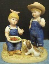 Denim Days Porcelain Figurine Homco 1985 Danny Debbie Apples Puppy Dog #1507