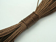 50 Meters Brown Waxed Polyester Twisted Cord String Thread Line 1mm
