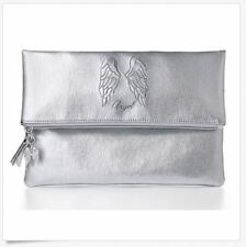 BNWT Victoria's Secret Supermodel Case Bag Purse Foldover Silver Angel Clutch