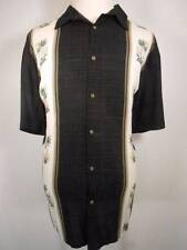 Tropical Men's XL Island Shores Black w/ Floral Panel Design Rayon Button Shirt