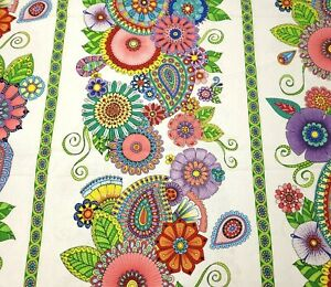 """1 yd 18"""" Night Bright Wilmington Prints Colorful Floral Paisley Stripe on White"""