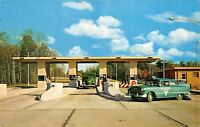 Toll Plaza Leading to Ohio's Ultra Modern Turnpike 195os Postcard Patrol Car