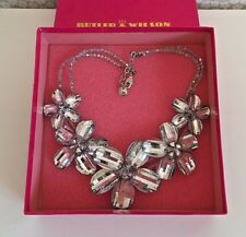Butler & Wilson Statement Necklace Silver Glass Flowers Boxed (E0404/12)