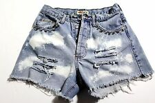 """Womens Vintage High Waist GUESS CUSTOM BLEACHED DISTRESSED STUDED Shorts Sz 27"""""""