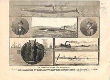 Torpilleur Sous-Marin Nordenfeldt Port Landskrona Helsingborg Suède GRAVURE 1885