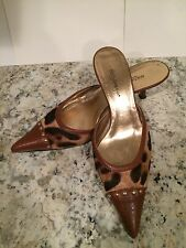 Dolce & Gabbana Pumps Heel Pony Hair Leather Sandals Slides Leopard 37.5/7 Nice
