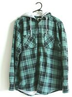 Wave zone long sleeve Check Shirt Size XL with hoodie color green and black