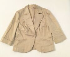 Women's CASLON Size Medium Elbow Sleeve Single Button Beige Fitted Blazer