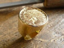 Seal ring gold round piece 5 Dollars Head'indian with socket inner
