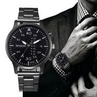 Formal Mens Stainless Steel Watch Luxury Military Army Analog Quartz Wrist Watch