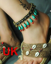 bell ankle bracelet adjustable Turquoise red agate brass bronze