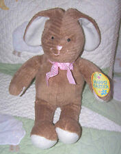 "CommonWealth Brown Ribbed Plush Floppy Happy Easter Bunny Rabbit 13"" NWT 2008"