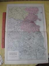 Vintage Print,ENVIRONS OF DUBLIN,Atlas British Isles,1881,Bacon
