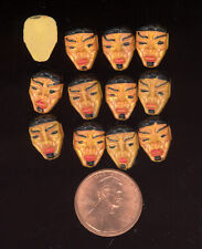 24 Vintage West German Hand Painted TRIBAL MASK #1 Resin Cabochons 13x9mm