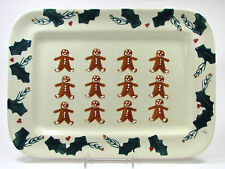 "Hartstone Pottery GINGERBREAD 16.5"" Rect Serving Platter Holly Berry Christmas"