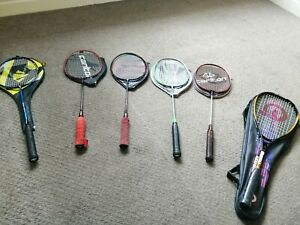 Babminton rackets x5 and  1x squash racket new.