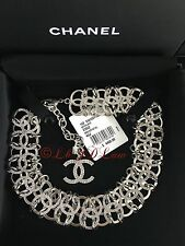 NWT CHANEL $4850 2016 16S CRYSTAL SILVER LINK CHOKER NECKLACE CC IN AIR RUNWAY