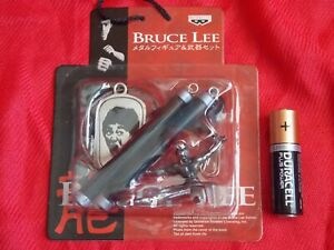 NEW Bruce Lee Metal MASCOT FIGURE (E) PVC NUNCHAKU KEYRING BANPRESTO UK DESPATCH