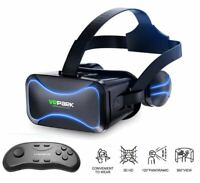 3D Glasses VR Headset Virtual Reality Goggles With Remote Controller For iPhone