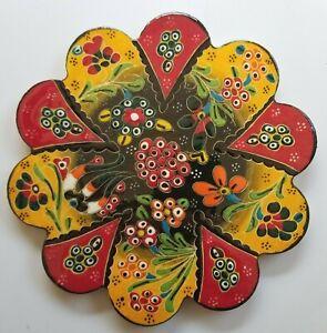 Trivet Turkish Handmade Ceramic Kitchen Hot Plate Red Yellow Flowers Berries NEW