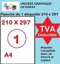 A4 papier adhésif blanc,  Étiquette autocollante 210 x 297 mm planche adhésive