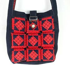 Vintage BOHO Hippie Blue Jean Purse Puffy Quilted Quilt Red Handmade Hipster VTG
