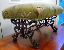 Antique CAST IRON FOOTSTOOL Bench ORNATE Torchere Flame Fabric Elephant Camel