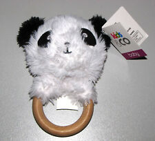 Kids & Co Plush Toy Panda Natural Wooden Teething Rattle and Bell infant Baby