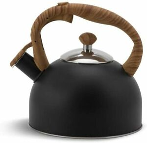 Whistling Kettle Black 2.5 L Stove Top Kettle Whistling Induction Gas Ceramic