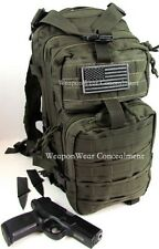 Tactical Backpack Gun Holster Flag HEAVY DUTY OD Green Concealment Concealment