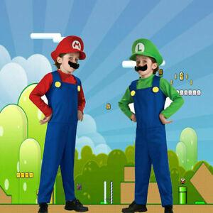 Kids Boys Super Mario and Luigi Fancy Dress Plumber Bros Halloween Book Costume