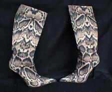 $985 Auth Roberto Cavalli Signature Animal Print Knee High Women's boots sz.37