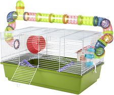 Pet Ting Lily Green Hamster Cage with Running Tubes Accessories Gerbil Syrian