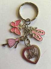 I LOVE BALLET KEY RING BAG CHARM Ballerina Ballet Dancer Shoes  Pink in gift baG