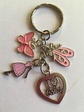 I LOVE BALLET KEY RING BAG CHARM Ballerina Ballet Dancer Shoes  Pink in gift baG