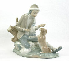 Nao Lladro Boy & His Dog Lesson For The Dog Winter Sitting On A Log Begging Dog