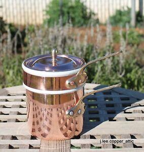 Ruffoni Copper Bain Marie w/ 2 cup ceramic insert, Made in Italy