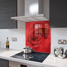 Premier Range Red Rose Design Toughened Glass Splashback - 60cm Wide x 75cm High