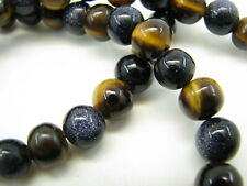 STUNNING Round Polished Beads NAVY BLUE SANDSTONE & TIGER'S EYE Necklace BEADED