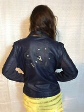 Desigual Blue Leatherette Jacket Love Top Blazer Navy Heart Zipper Vest  Sz 44