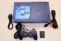 Sony PS2 Fat Ocean Blue Console AC AV Cont Bundle Japan Import US Seller 2PC109