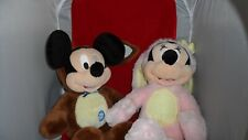 """Disney Store Authentic 15"""" Soft Pink Plush Minnie Mouse & Mickey Easter Bunny"""