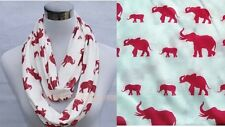 DELTA SIGMA THETA  INSPIRED STYLE WOMENS WHITE SCARF WITH RED ELEPHANTS