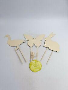 Marks Spencer Metal Flower Pot Garden Stakes Butterfly Rabbit Duck Cream 3PC Set