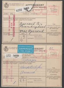 Greenland 1980-81. 2 diff. meter parcel cards for parcels to Denmark.