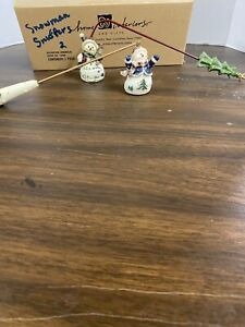 """Home Interiors Set Of 2 Snowman Candle Snuffers 10"""""""