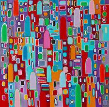 Gemälde Acryl Leinwand Dekoration Häuser painting bunt handgemalt abstrakt
