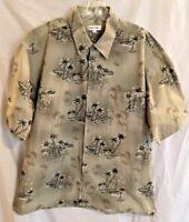 Pierre Cardin Mens Hawaiian Shirt Tan Cotton Boats and Palm Trees Size XL